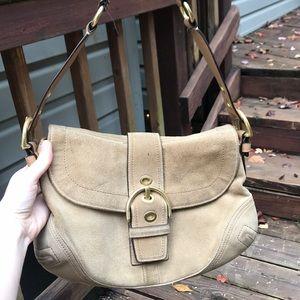 Coach Tan Suede Genuine Leather Handbag